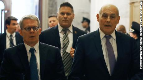 "WASHINGTON, DC - MAY 24:  White House Chief of Staff John Kelly (R) and White House lawyer Emmet Flood (L) arrive to attend a briefing with members of the so-called 'Gang of Eight' at the U.S. Capitol May 24, 2018 in Washington, DC. The bipartisan group of senators requested a briefing from Coats, Federal Bureau of Investigation Director Christopher Wray and other intelligence officials about the FBI's use of a confidential intelligence source in the Russia investigation. The ""Gang of Eight"" consists of the top Republican and Democratic members of the House and Senate intelligence committee as well as congressional leaders from both parties.  (Photo by Mark Wilson/Getty Images)"