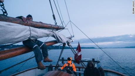 Tobias Soerensen and Johannes Elslo and the Linden's first mate keep watch on night shift.
