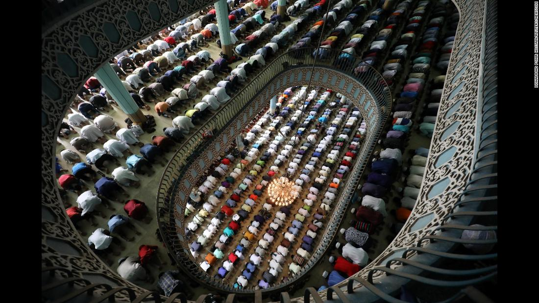 Muslims pray at the Baitul Mukarram mosque in Dhaka, Bangladesh, on Friday, May 18. Ramadan, the Islamic holy month of fasting, ends on June 14.