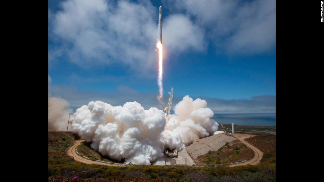 A SpaceX rocket launches satellites into space from California's Vandenberg Air Force Base on Tuesday, May 22.