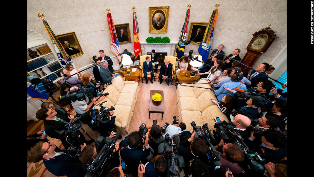 "US President Donald Trump and South Korean President Moon Jae-in speak with reporters in the White House Oval Office on Tuesday, May 22. <a href=""https://www.cnn.com/2018/05/22/politics/trump-moon-north-korea-white-house/index.html"" target=""_blank"">Moon was hoping to shore up confidence</a> for a meeting he helped to broker between Trump and North Korean leader Kim Jong Un. But Trump <a href=""https://www.cnn.com/2018/05/24/politics/trump-north-korea/index.html"" target=""_blank"">canceled the meeting</a> a couple of days later."