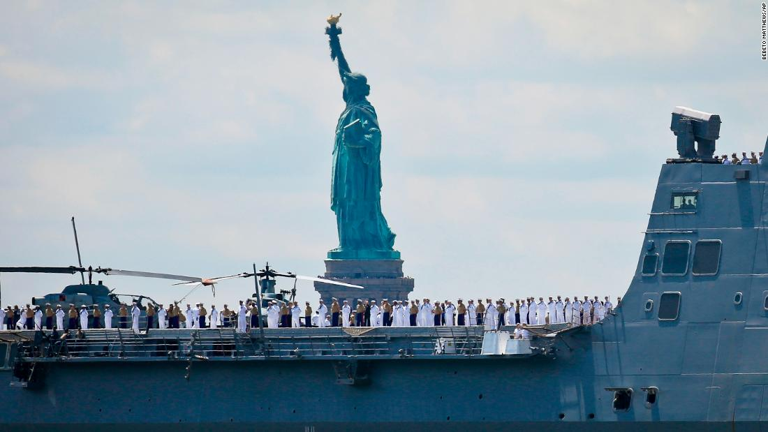 The USS Arlington arrives in New York to kick off Fleet Week on Wednesday, May 23.