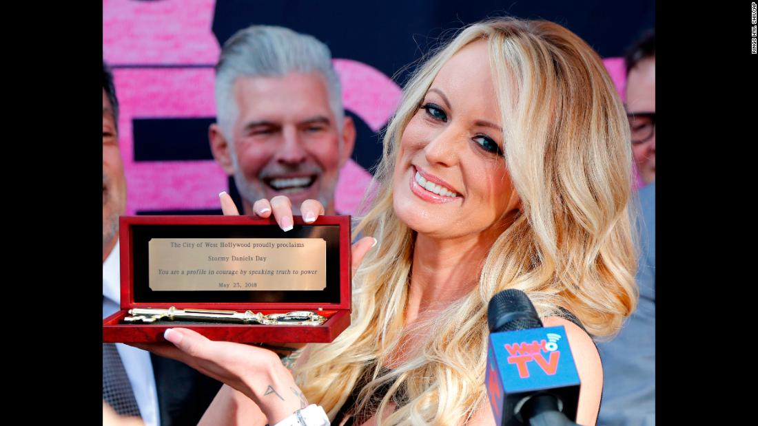 "Adult film star Stormy Daniels shows off the key to West Hollywood, California, which she received during a special ceremony on Wednesday, May 23. <a href=""https://www.cnn.com/2018/05/24/politics/stormy-daniels-donald-trump-federal-court/index.html"" target=""_blank"">Daniels is suing</a> President Donald Trump and his lawyer, Michael Cohen -- as well as Essential Consultants, Cohen's shell company -- to try to nullify a 2016 hush agreement that sought to prevent her from speaking out about an alleged affair with Trump. <a href=""https://www.cnn.com/2018/04/08/politics/stormy-daniels-donald-trump-michael-cohen-deposition/index.html"" target=""_blank"">Cohen paid Daniels $130,000</a> in exchange for her silence."