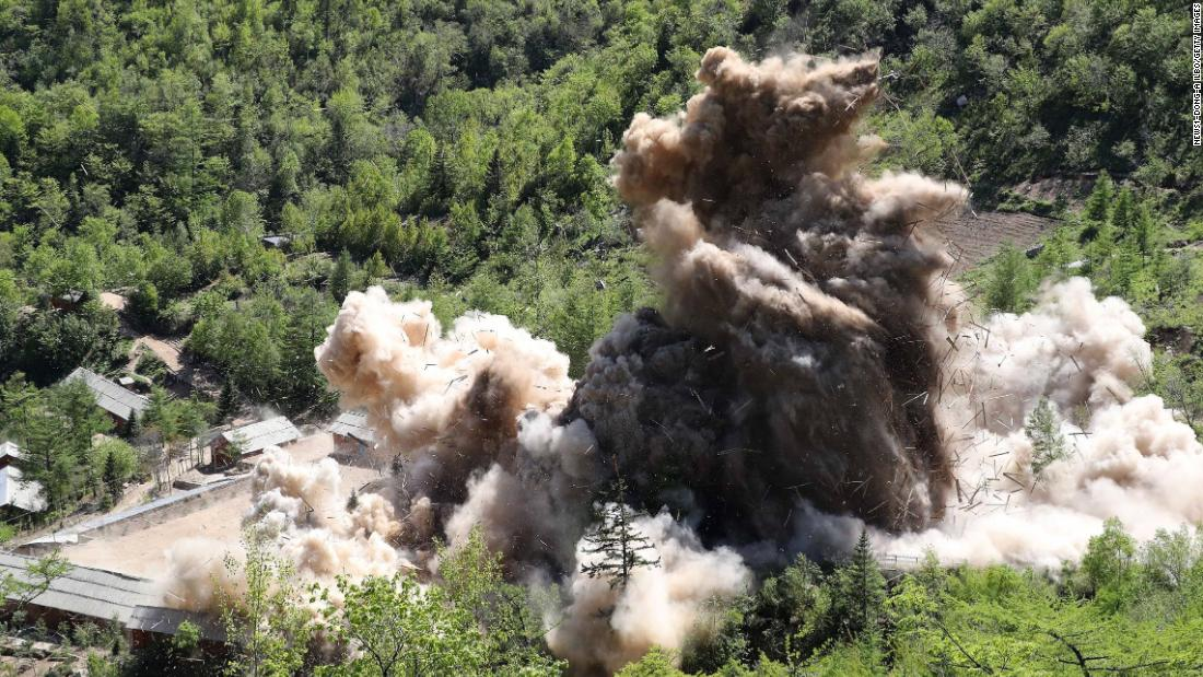 "North Korea appeared to destroy at least three nuclear tunnels, observation buildings, a metal foundry and living quarters <a href=""https://www.cnn.com/2018/05/24/asia/north-korea-nuclear-test-site-intl/index.html"" target=""_blank"">at its Punggye-ri nuclear test site </a>on Thursday, May 24, in a process observed by invited international journalists."
