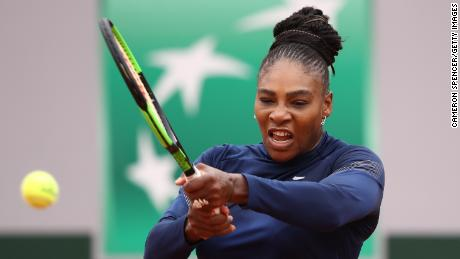 PARIS, FRANCE - MAY 24: Serena Williams of the United States plays a backhand during a practice session ahead of the French Open at Roland Garros on May 24, 2018 in Paris, France.  (Photo by Cameron Spencer/Getty Images)