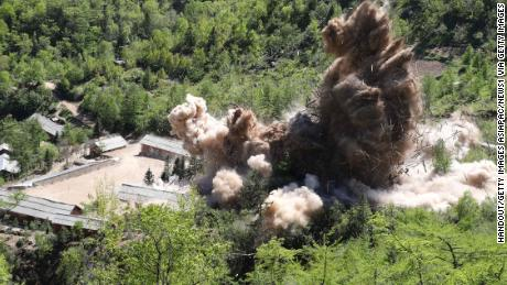 PUNGGYE-RI, NORTH KOREA - MAY 24: (SOUTH KOREA OUT) In this handout image provided by the News1-Dong-A Ilbo, the Punggye-ri nuclear test site is demolished on May 24, 2018 in Punggye-ri, North Korea. North Korea dismantled their nuclear testing facility at Punggye-ri in front of the international media. (Photo by News1-Dong-A Ilbo via Getty Images)