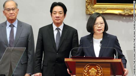 Taiwanese President Tsai Ing-wen speaks during a press conference announcing Burkina Faso cut the diplomatic relations with Taiwan on May 24.