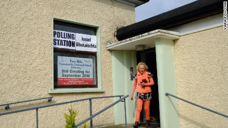 A voter leaves a polling station at the Two Mile School near Killarney, Ireland on Friday morning.