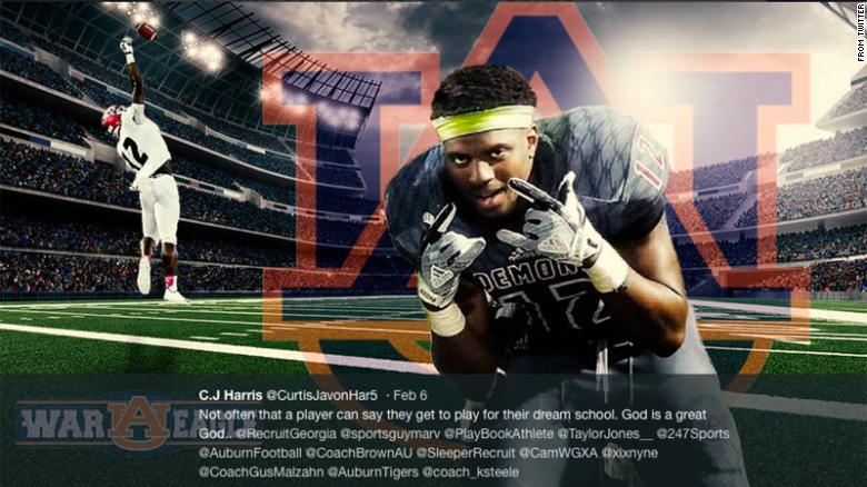 C.J. Harris was thrilled to commit to play football for Auburn.