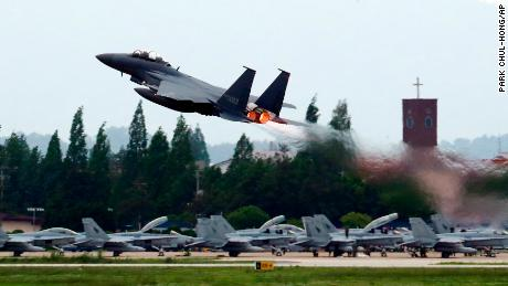 A South Korean Air Force fighter jet takes off from an air base as South Korea and the United States conduct the Max Thunder joint military exercise in Gwangju, South Korea, Wednesday, May 16, 2018. North Korea on Wednesday canceled a high-level meeting with South Korea and threatened to scrap a historic summit next month between President Donald Trump and North Korean leader Kim Jong Un over military exercises between Seoul and Washington that Pyongyang has long claimed are invasion rehearsals. A senior North Korean diplomat said Pyongyang will refuse to be pressured into abandoning its nukes.(Park Chul-hong /Yonhap via AP)