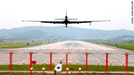 A US Air Force U-2 spy plane prepares to land as South Korea and the United States conduct the Max Thunder joint military exercise on Wednesday, May 16, 2018.