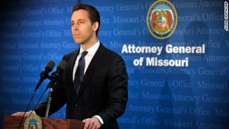 Missouri Attorney General Josh Hawley announces during a Tuesday, April 17, 2018, press conference in his Jefferson City, Mo., office that he has found evidence that Gov. Eric Greitens committed a crime.