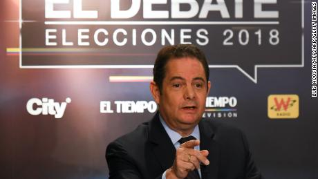 Colombian presidential candidate German Vargas Lleras, for the Cambio Radical Party takes part in a TV debate in Bogota on May 24, 2018. Colombia will hold presidential elections on May 27. - Colombia will hold presidential elections on May 27. (Photo by Luis ACOSTA / AFP)        (Photo credit should read LUIS ACOSTA/AFP/Getty Images)