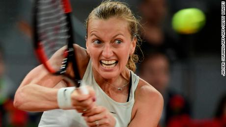 Czech Republic's Petra Kvitova returns the ball to Netherlands' Kiki Bertens during their WTA Madrid Open final tennis match at the Caja Magica in Madrid on May 12, 2018. (Photo by JAVIER SORIANO / AFP)        (Photo credit should read JAVIER SORIANO/AFP/Getty Images)