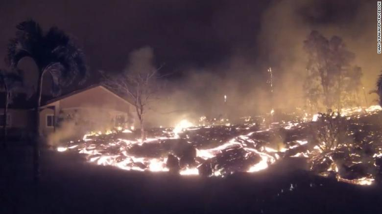 Lava 'river' engulfs home in minutes