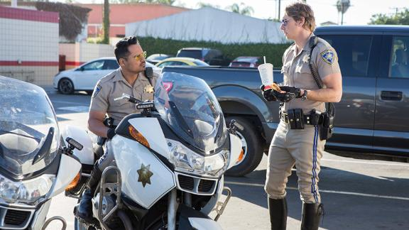 """Chips"": Michael Peña and Dax Shepard star in this big screen adaptation of the 1970s TV series about a pair of California Highway Patrol officers. (HBO Now)"