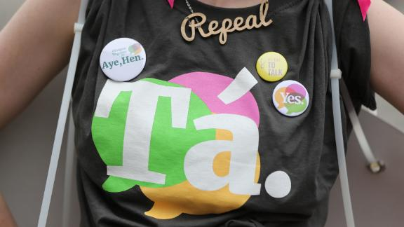 A Yes supporter at Dublin Castle as votes are counted in the referendum on the 8th Amendment of the Irish Constitution which prohibits abortions unless a mother's life is in danger. (Photo by Niall Carson/PA Images via Getty Images)