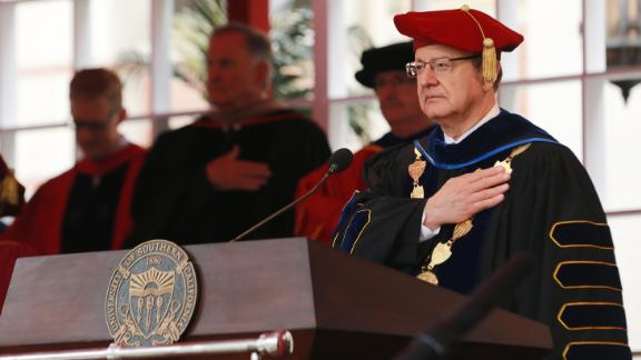 C. L. Max Nikias attends USC's commencement ceremony this month.