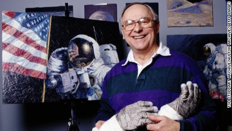 Apollo 16 astronaut Alan Bean, now an artist, who paints scenes from space, photographed in his studio.