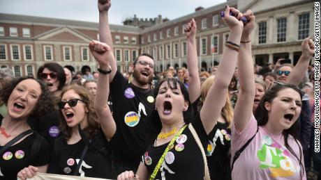 Campaigners in Dublin celebrate in May, as Irish voters supported legalizing abortion in a referendum.