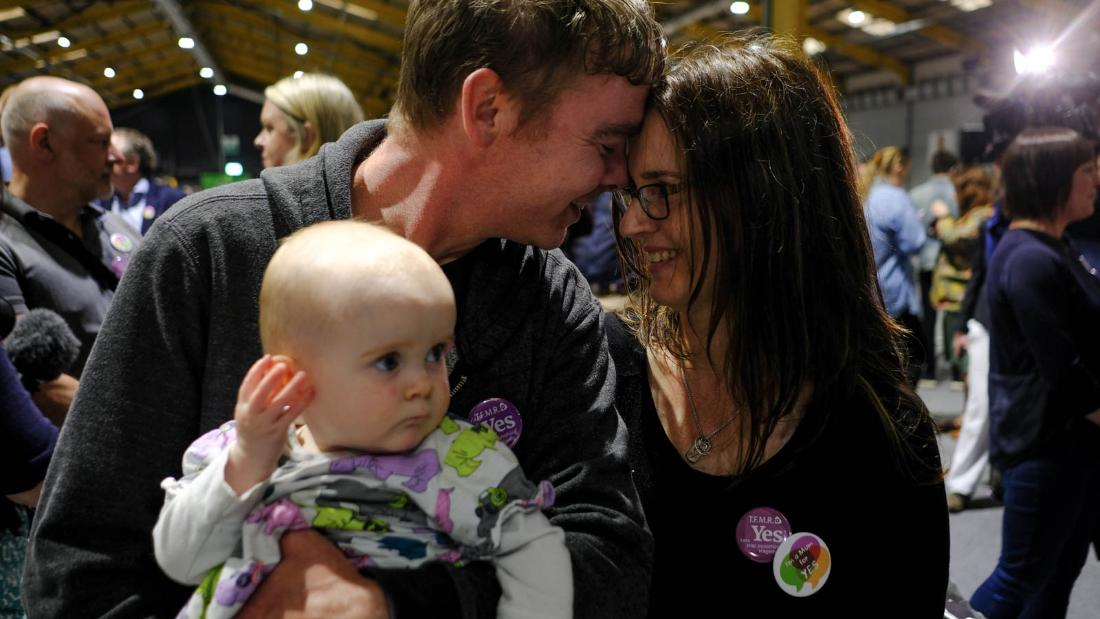 Amanda Mellet, with her husband James and daughter Ella at the count in Dublin Saturday.
