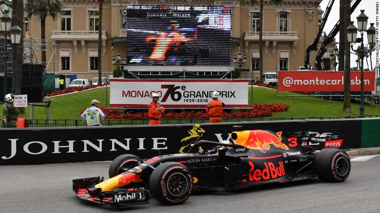 Race winner Ricciardo drives past the famous Casino in Monte Carlo on his way to his superb victory.