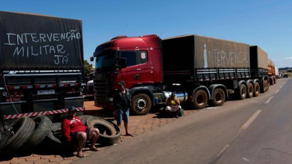 Trucks sit idle in Brasilia.