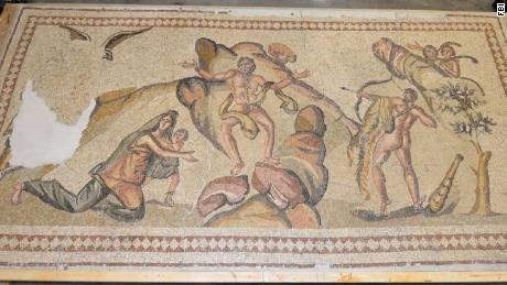 An expert told investigators the 1-ton mosaic depicts characters from Roman mythology.