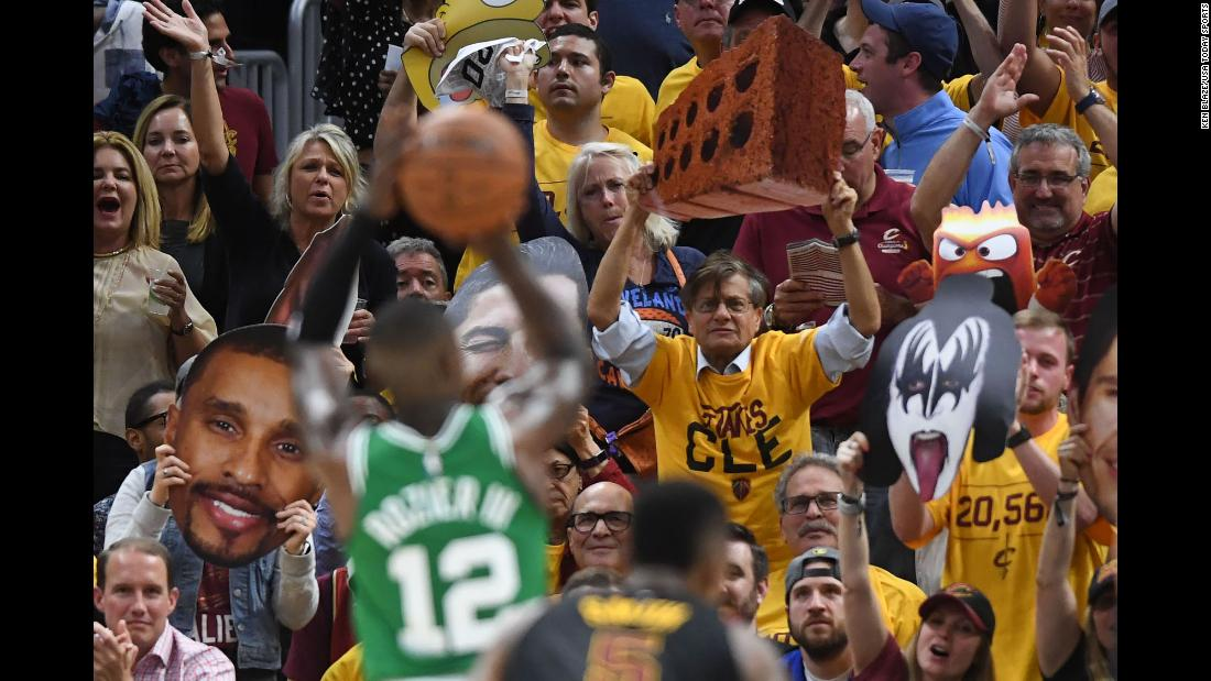 Cleveland Cavaliers fans jeer Boston Celtics guard Terry Rozier as he shoots a free throw in game four of the Eastern Conference finals of the 2018 NBA Playoffs on Monday, May 21.