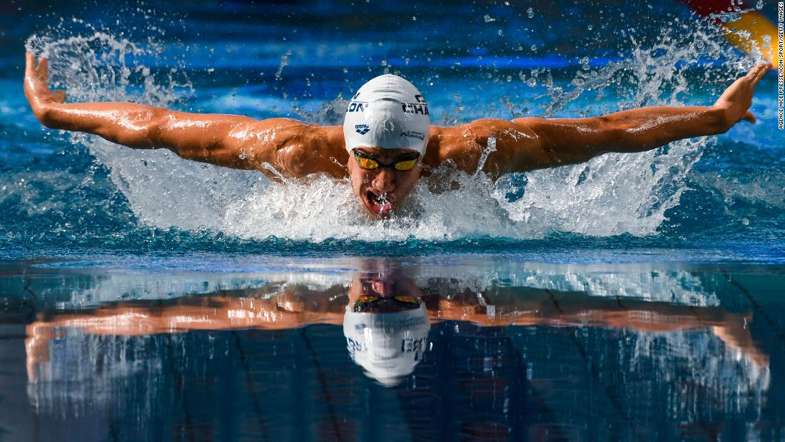 Jaouad Syoud of Tunisia competes in the 400-meter medley during the French swimming championship in Saint Raphael, France, on Friday, May 25.