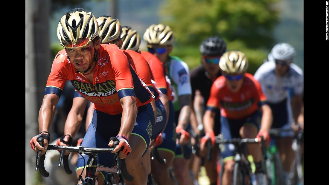Yukiya Arashiro, a Japanese cyclist who rides for UCI ProTeam Bahrain--Mer, leads in the third stage of Tour of Japan on Tuesday, May 22, in Japan.