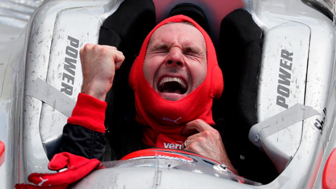 Will Power of Australia exults after winning the Indianapolis 500 auto race at Indianapolis Motor Speedway on Sunday, May 27.