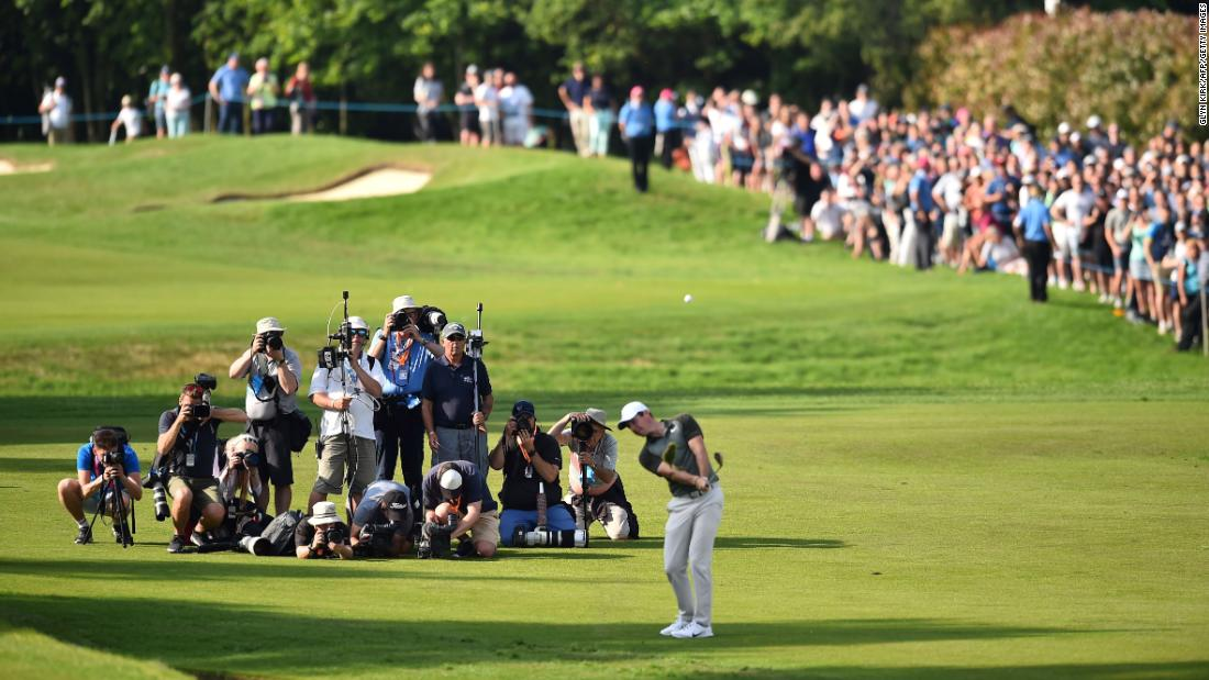 Northern Ireland's Rory McIlroy chips onto the 18th green at the PGA Championship at Wentworth Golf Club in Surrey, south west of London, on Saturday, May 26.