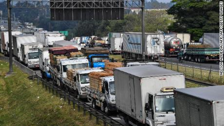 Truck drivers went on strike after the cost of diesel rose.