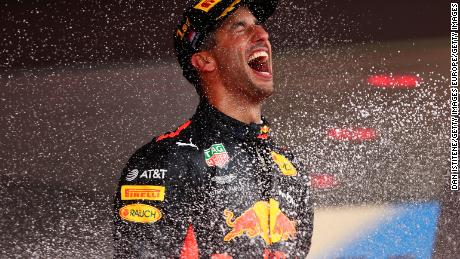 MONTE-CARLO, MONACO - MAY 27:  Race winner Daniel Ricciardo of Australia and Red Bull Racing celebrates on the podium during the Monaco Formula One Grand Prix at Circuit de Monaco on May 27, 2018 in Monte-Carlo, Monaco.  (Photo by Dan Istitene/Getty Images)