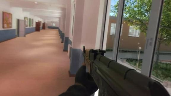 "A screenshot from a promotional trailer for the ""Active Shooter"" game."