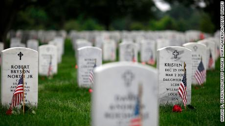 WASHINGTON, DC - MAY 27: Headstones are adorned with flags at Arlington National Cemetery on Memorial Day, May 27, 2018 in Arlington, Virginia. Mourners from throughout the United States travel to Arlington to visit their loved ones on Memorial Day. (Photo by Aaron P. Bernstein/Getty Images)