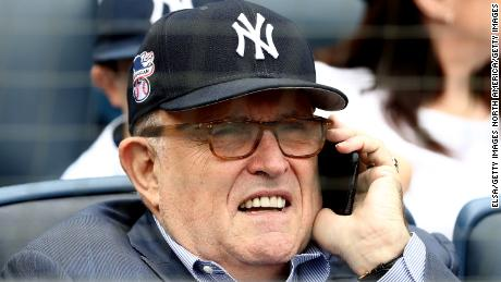 NEW YORK, NY - MAY 28:  Rudy Giuliani, former New York City mayor and current lawyer for President Donald Trump, attends the game between the New York Yankees and the Houston Astros at Yankee Stadium on May 28, 2018 in the Bronx borough of New York City. MLB players across the league are wearing special uniforms to commemorate Memorial Day.  (Photo by Elsa/Getty Images)