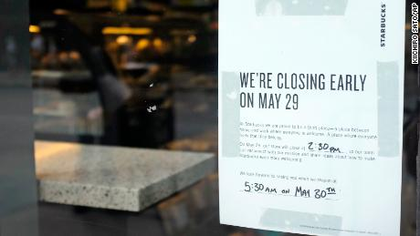A store closing sign for May 25 is posted outside of a Starbucks store, Friday, May 25, 2018, in Chicago. Starbucks will close more than 8,000 stores nationwide on Tuesday to conduct anti-bias training, the next of many steps the company is taking to try to restore its tarnished diversity-friendly image. (AP Photo/Kiichiro Sato)