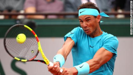 PARIS, FRANCE - MAY 28:  Rafael Nadal of Spain plays a backhand during his mens singles first round match against Simone Bolelli of Italy during day two of the 2018 French Open at Roland Garros on May 28, 2018 in Paris, France.  (Photo by Clive Brunskill/Getty Images)