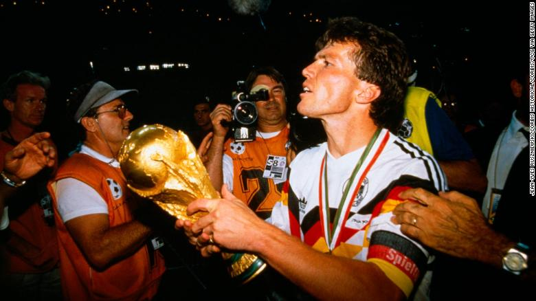 1990 FIFA World Cup, Final Germany vs Argentina (1-0). Lothar Matthaus (Germany) holding the trophy.  (Photo by Jean-Yves Ruszniewski/TempSport/Corbis/VCG via Getty Images)