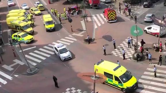In this grab made from a video obtained on the Twitter account of Victor Jay (@victorj_fr), police and emergency vehicles block a crossroad on May 29, 2018 in the eastern Belgian city of Liege, after a gunman shot dead three people, two of them policemen, before being killed by elite officers. / AFP PHOTO / TWITTER / Victor JAY / RESTRICTED TO EDITORIAL USE  MANDATORY CREDIT «  AFP PHOTO / TWITTER / VICTOR JAY » - NO MARKETING NO ADVERTISING CAMPAIGNS  DISTRIBUTED AS A SERVICE TO CLIENTSVICTOR JAY/AFP/Getty Images