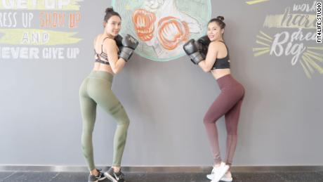 Hou Shiyao, left, and Zhang Weiya founded the women-only gym Fit 4 Life in Beijing.
