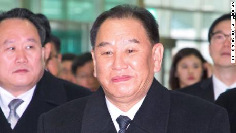 General Kim Yong Chol (C), who is in charge of inter-Korean affairs for North Korea's ruling Workers' Party, arrives to leave for North Korea from the inter-Korea transit office in Paju near the Demilitarized zone dividing the two Koreas on February 27, 2018. The powerful North Korean general on February 27 wrapped up his visit to the South as part of an Olympics charm offensive by Pyongyang that has drawn angry protests calling for his arrest. / AFP PHOTO / KOREA POOL / KOREA POOL / South Korea OUT        (Photo credit should read KOREA POOL/AFP/Getty Images)