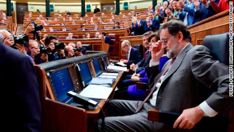 Spanish Prime Minister Mariano Rajoy attends a session at the Lower House of Parliament in Madrid on Wednesday.