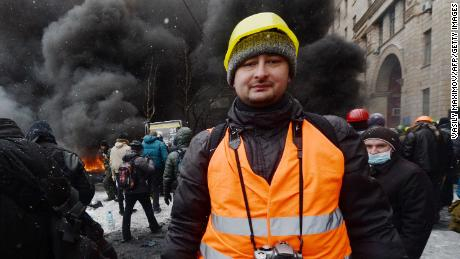 Arkady Babchenko covering unrest in Kiev, Ukraine, on January 22, 2014.