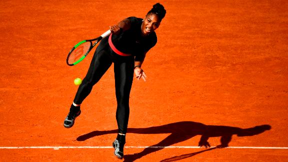 Williams turned heads with her striking black catsuit in the first round of the 2018 French Open in Paris -- tournament organizers have since tightened dress codes for next year, meaning the catsuit will be consigned to the closet.
