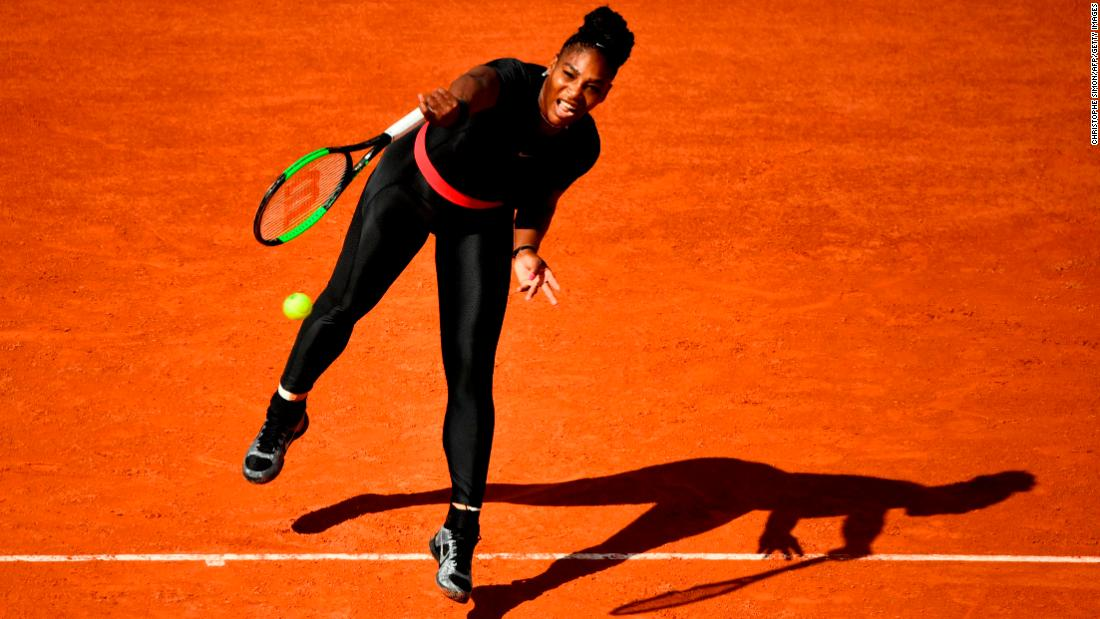 "Williams turned heads in this black catsuit as she made her first grand slam appearance for 16 months following the birth of her daughter in September. The 23-time grand slam champion said it made her feel like a ""warrior princess"" but added it helped with her circulation."