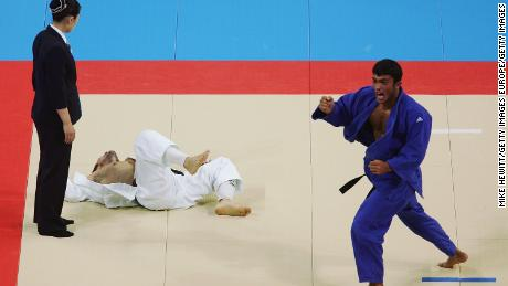 Iliadis celebrates making the half-middleweight (-81kg) judo final of the Athens 2004 Olympics.
