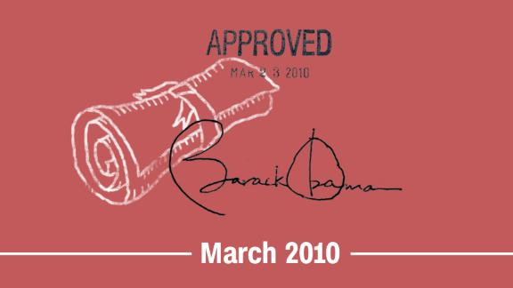 March 2010 -- The Affordable Care Act (ACA), also known as Obamacare, becomes law. Section 1557 of the act bans discrimination based on sex and other characteristics in federally funded health care programs and activities. It does not explicitly interpret sex to include gender identity, but courts will interpret it that way in coming years.